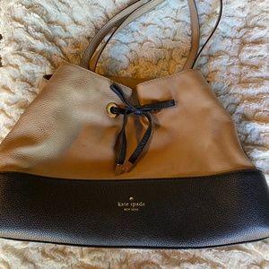 Kate Spade 2 tone purse bow black and tan